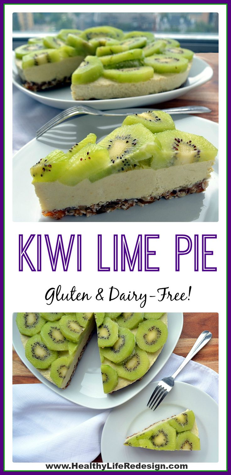This gluten & dairy-free Kiwi Lime Pie is a decadent frozen dessert! Enjoy this guilt-free indulgence! | Healthy Life Redesign