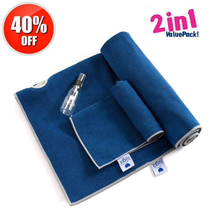 """Yoga Towel by IUGA, Extra Thick Hot Yoga Towel + Hand Towel 2 in 1 Set, Corner Pockets Design to Prevent Bunching, 100% Microfiber – Non Slip, Super Absorbent and Quick Dry, Extra Large 72""""x26"""" Blue. Premium non-slip and super absorbent material: IUGA yoga towel is made of 100% premium microfiber. It acts as an ideal moisture absorbent towel to wipe away perspiration and create a slip free surface. So you can stay focus on your mind, body and breath through entire sessions. Corner Pockets..."""
