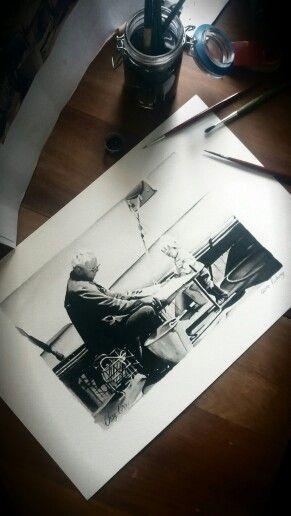 Painting of me n grandad on his boat. Ink on paper