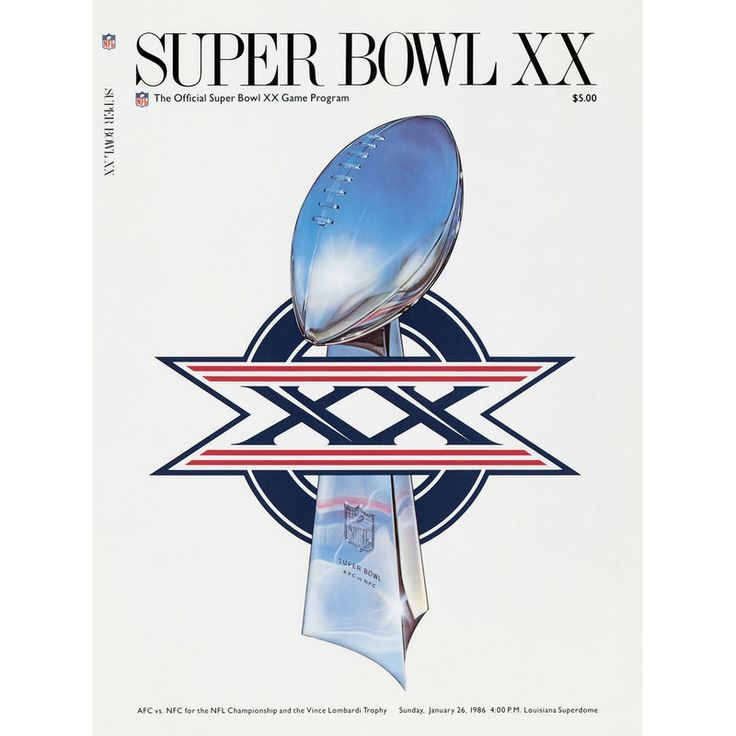 "Fanatics Authentic 1986 Bears vs. Patriots 22"" x 30"" Canvas Super Bowl XX Program"