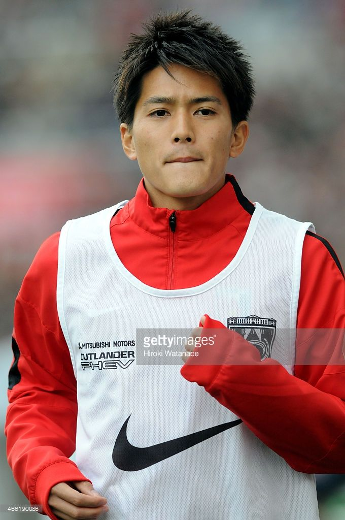 Toshiyuki Takagi of Urawa Red Diamonds warms up during the J.League match between Urawa Red Diamonds and Montedio Yamagata at Saitama Stadium on March 14, 2015 in Saitama, Japan.