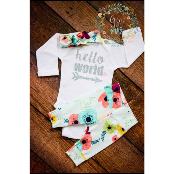 Newborn Baby coming home outfit Floral on Light Blue door GigiandMax