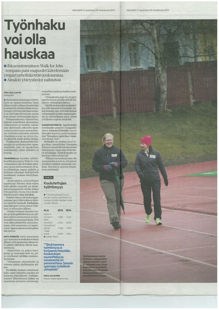 """Aamulehdessä 10.5.2014 ilmestynyt artikkeli """"Työnhaku voi olla hauskaa"""" (AL 10.5.2014 s. 24-25)."""