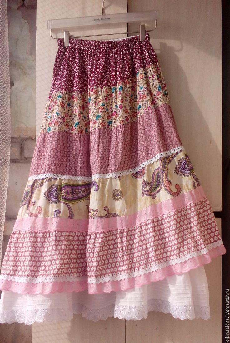 Купить Цветение персика - нежная, летняя бохо-юбка из хлопка - юбка, юбка летняя