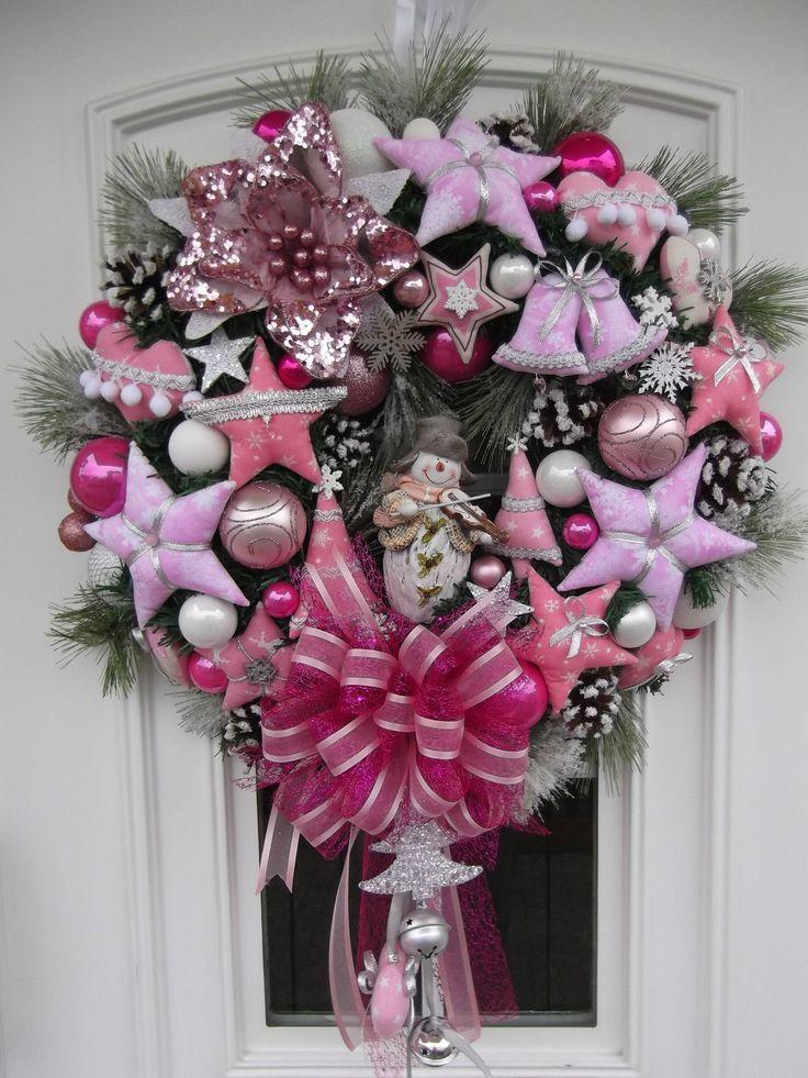 t rkranz weihnachten weihnachtskranz rosa pink tilda art. Black Bedroom Furniture Sets. Home Design Ideas