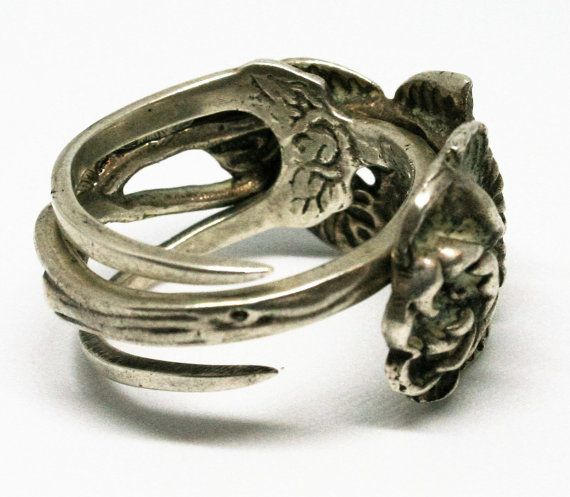 Handmade Rose Fork Ring. 835 German grade Silver.