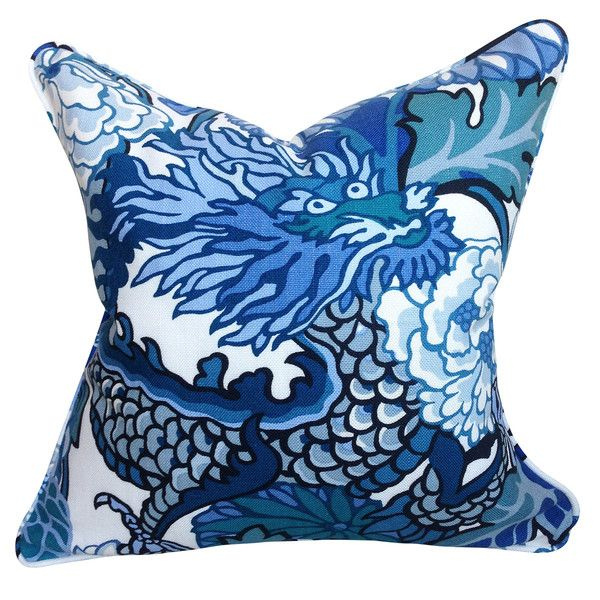 Schumacher Chiang Mai Dragon Cushion In China Blue