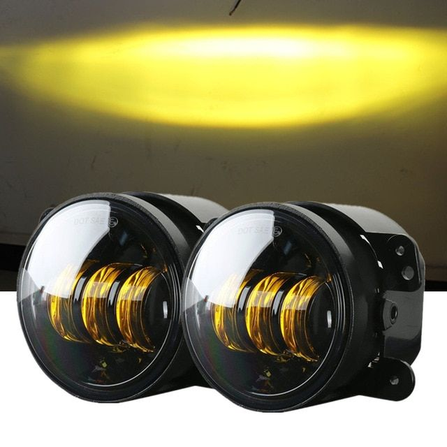 4 Inch Amber Yellow 60w Led Fog Lights For Jeep Wrangler 97 2018