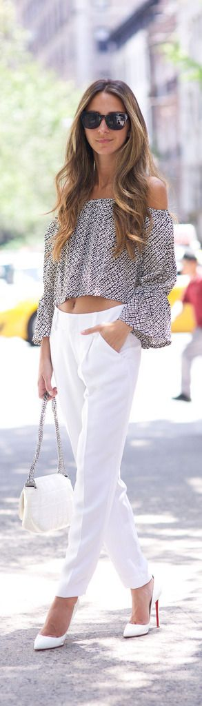 Greet summer with everyone's favourite monochromes - white trousers and heels with a grey off the shoulder tee is just what you need! Via Arielle Nachami