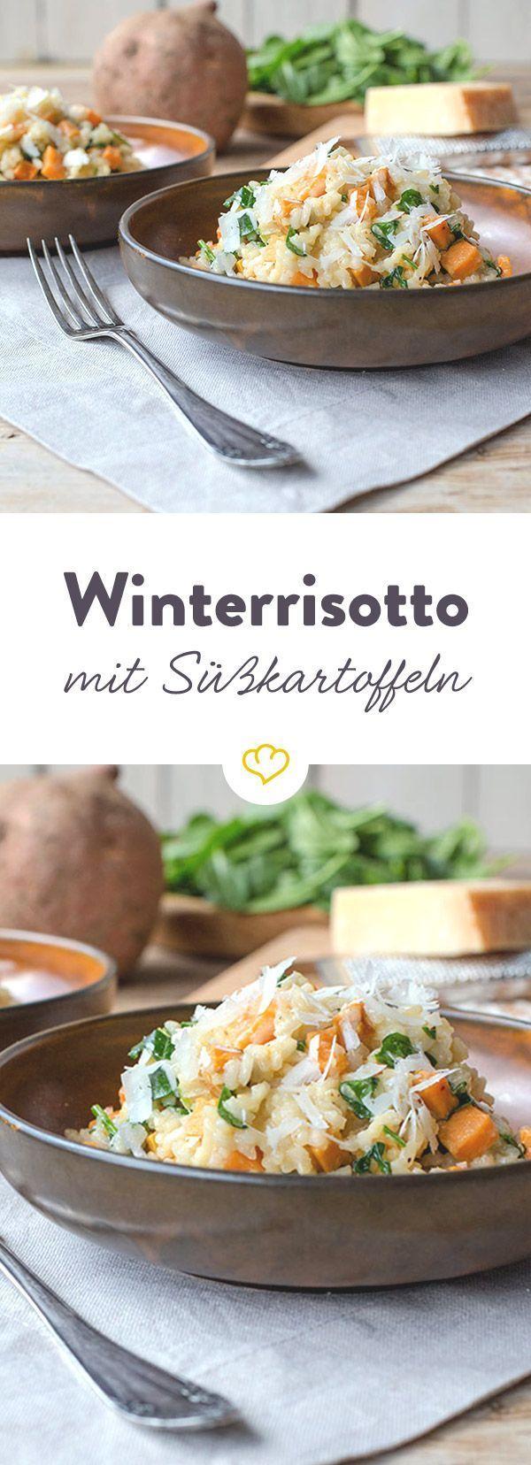 Winterrisotto mit Süßkartoffeln und Spinat