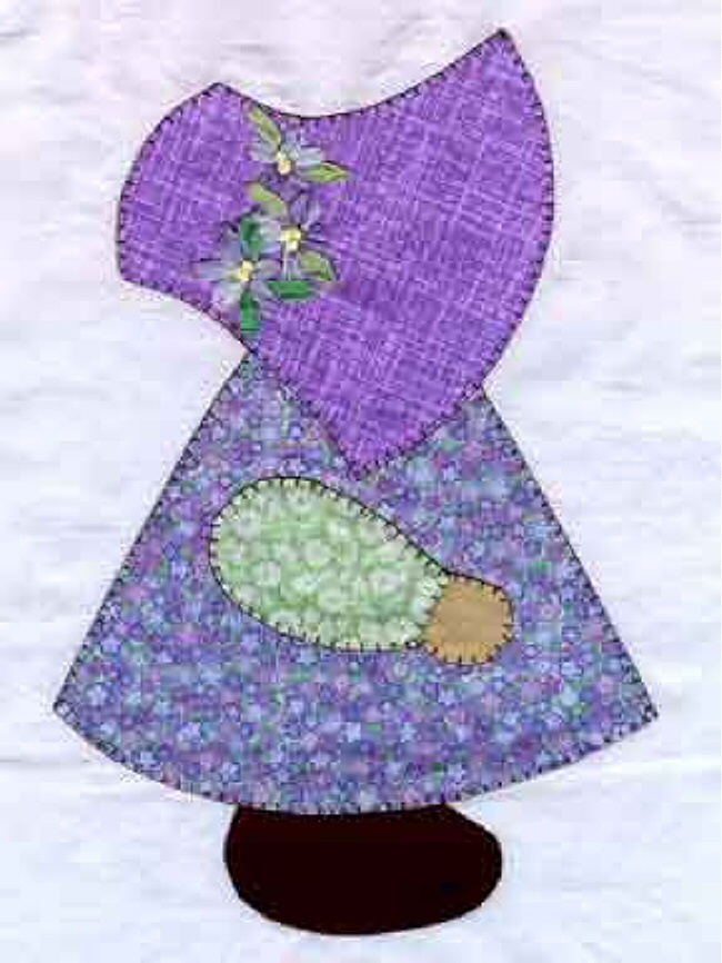 "I ❤ applique . . . Although it looks intimidating, practice makes perfect. This ""Sunbonnet Sue"" appliqué is easy & fun. You can use patterns from a child's coloring book. Make a copy of each section of the pattern. (Sunbonnet Sue has 5 sections, hat, dress, arm, hand, shoe.) Trace each section onto freezer paper & cut them out. Iron the freezer paper pattern pieces onto different color fabric, cut out the fabric, leaving a 1/8 inch seam allowance. Appliqué onto fabric using the blanket…"