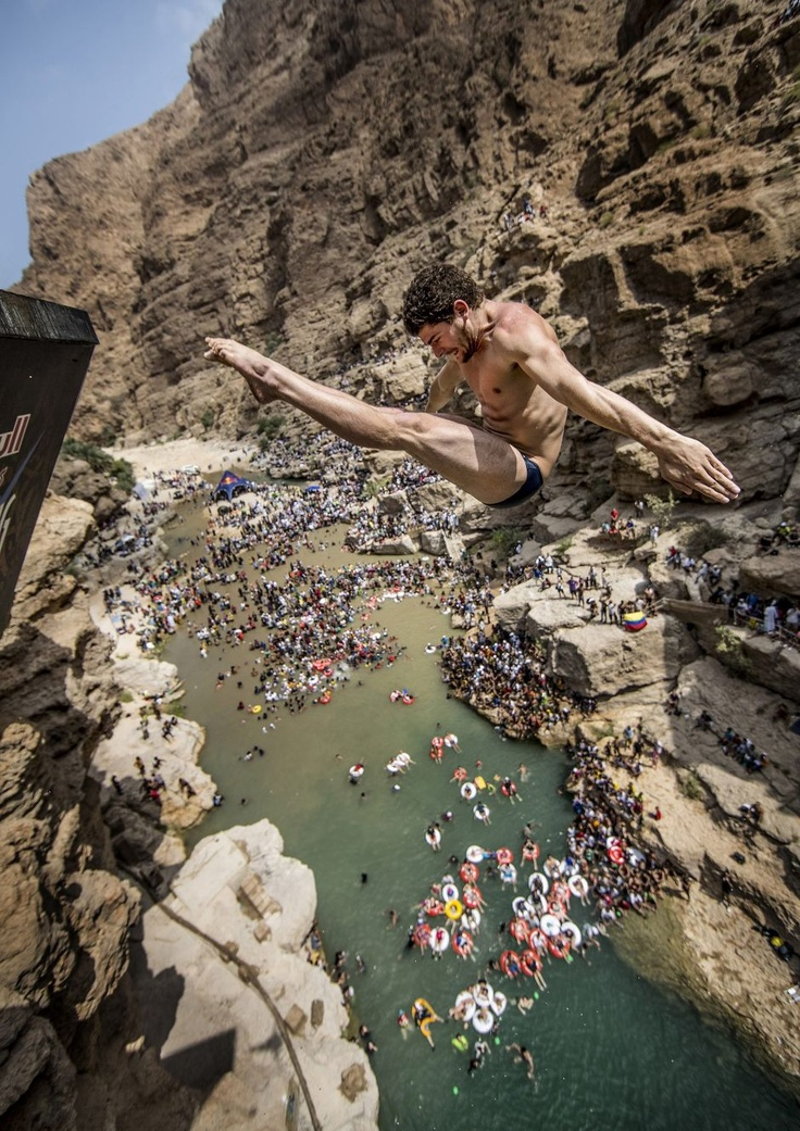 David colturi of usa dives in oman in the red bull cliff diving world series athletes diving - Highest cliff dive ...