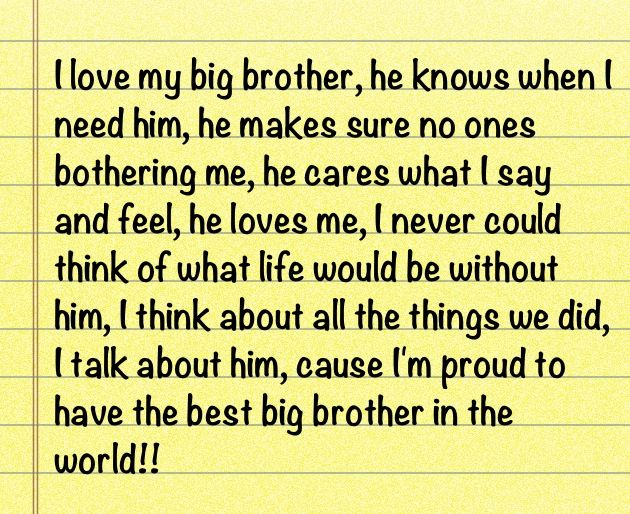 Big Brother Quotes To Little Brother: I Love My Big Brother Quotes. QuotesGram