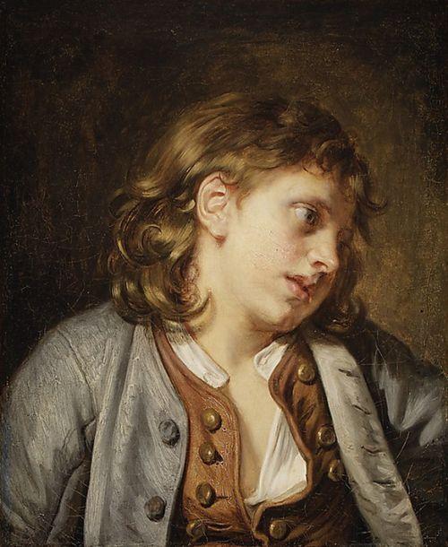 Пещера на холст, Жан-Батист Грюз, Глава молодого мальчика, 1763 ...