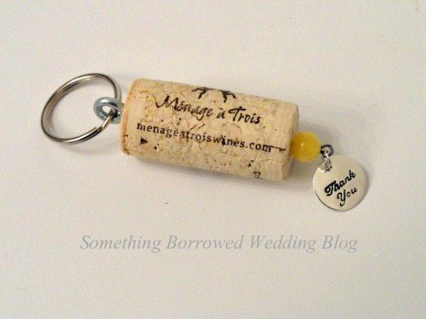 Tutorial for DIY wine cork keychain wedding favor at something-borrowed-wedding.com