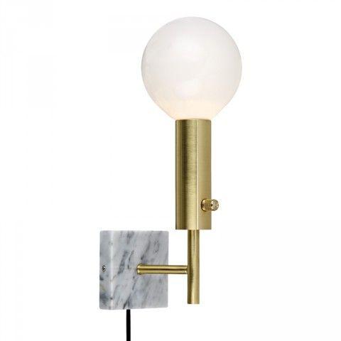 LampGustaf Marble Square Vägglampa Mässing