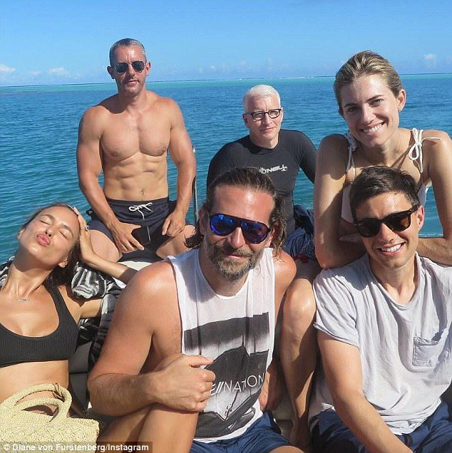 Loved up: Irina Shayk and Bradley Cooper were snapped together during their holiday in Tahiti; pictured withAllison Williams and her husband Ricky Van Veen; Anderson Cooper and his partner Benjamin Maisani