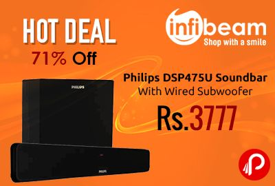 Infibeam Hot Deal is offering 71% off on Philips DSP475U Soundbar With Wired Subwoofer at Rs.3777. This new Sound Bar Speakers from Philips are amazingly stylish and gives out the best surround sound output.The speakers are designed in a way that can blend with all kinds of interiors.  http://www.paisebachaoindia.com/philips-dsp475u-soundbar-with-wired-subwoofer-at-rs-3777-infibeam/
