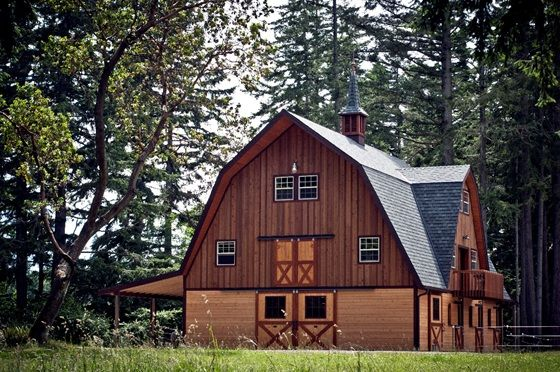 Gambrel style barn prefab horse barns barn pros barn for Gambrel home kits
