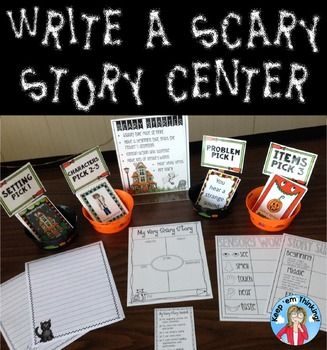 What kid doesnt like scary stories? This Halloween Writing center is perfect to help your kiddos write super scary stories! Included in the packed is everything you need to set up a scary story writing center in your classroom. In this Write A Scary Story: Halloween Writing Center, you will find:9 Scary Story Setting Cards14 Scary Story Problem Cards24 Scary Story Character Cards27 Scary Story Item CardsSensory Words Graphic OrganizerMy Very Scary Story MapScary Story Summary Graphic Org...