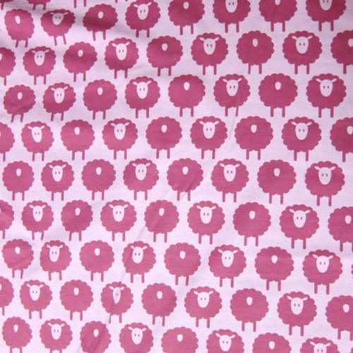 Rose Sheep on 95% Organic Cotton 5% Spandex Jersey. CUTEST knit for girls ever!