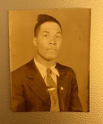 Vintage African American Handsome Man Suit Photo Booth Old Black Americana Photo