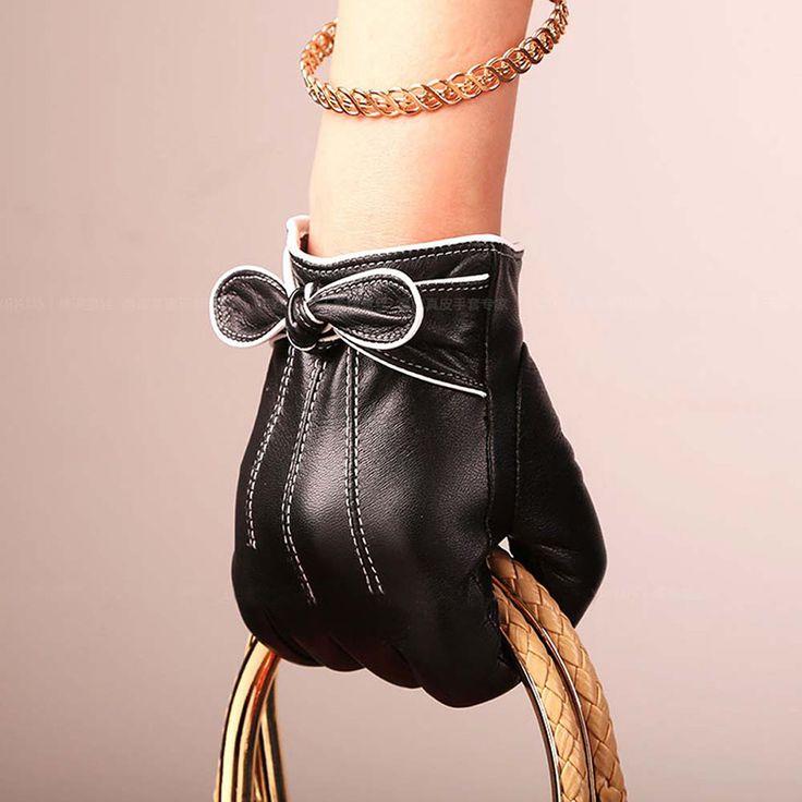 Winter Women Genuine Leather Gloves Female Touch Screen Gloves Fashion Warm Black Smartphone Gloves Goatskin Mittens WI-AGB487
