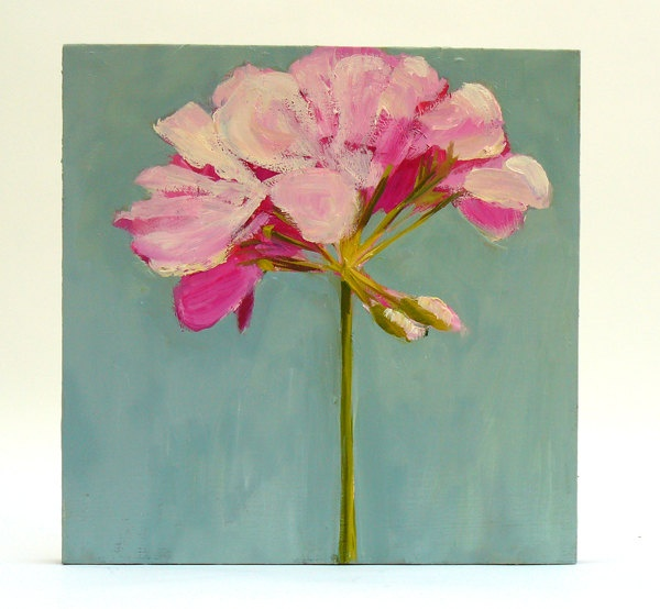 Flower Painting Pink Geranium Wall Decor Oil on wood panel 10x10 inch wall art. $180.00, via Etsy.