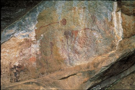 Kondoa Rock-Art Sites - Tanzania  On the eastern slopes of the Masai escarpment bordering the Great Rift Valley are natural rock shelters, overhanging slabs of sedimentary rocks fragmented by rift faults, whose vertical planes have been used for rock paintings for at least two millennia.