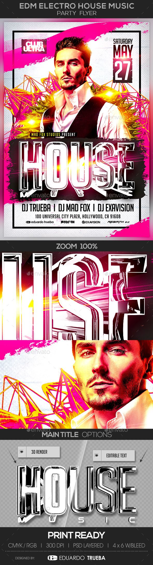 EDM Electro House Music Party Flyer Template PSD