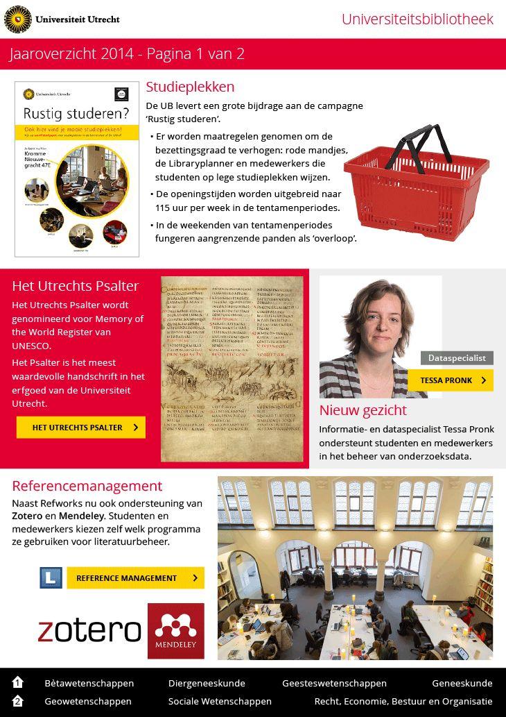 Jaaroverzicht 2014 / voor: Universiteitsbibliotheek Universiteit Utrecht