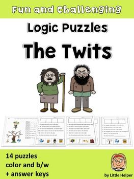 Logic puzzles with the adorable characters from The Twits. This set of 14 logic puzzles provides practice in reading accuracy and higher order thinking skills. Students must read attentively to find out the precise position of each character. Important words to practice in these logic puzzles are: - next to - between - on the left/right - in the middle and especially: - not