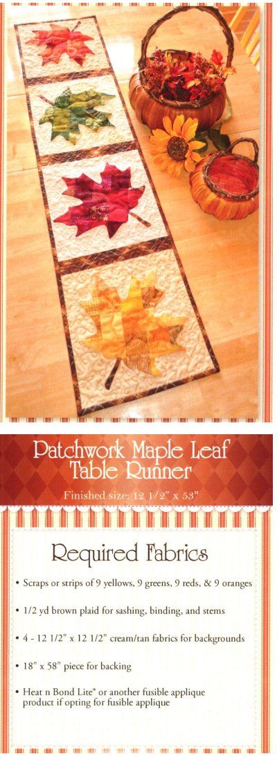 """Patchwork Maple Leaf Table Runner  from Shabby Fabrics Finished Size: 12½"""" x 53""""."""