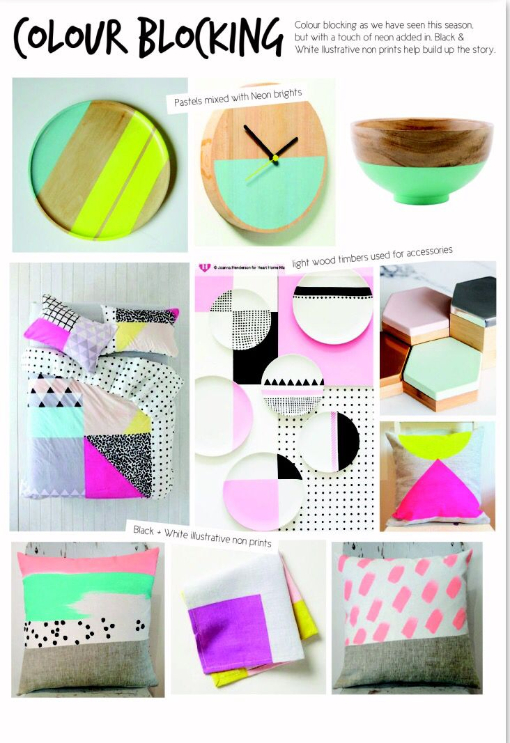 SS15 interior design. Homewares Colourblocking