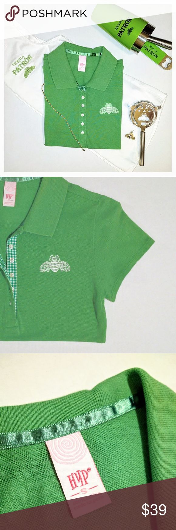 {Patron Tequila} fitted polo Patron Tequila * Size Small * Fitted Green Polo Shirt w/gingham print under buttons  * Signature Patron Tequila logo and bumble bee embroidery * Cropped Waist Length * BRAND NEW - FLAWLESS  * Top * Golf * Spring * Summer * Sponsor * Preppy  * Graphic * Tee * Crop * Bright * Sunny * Short Sleeve Patron Tequila Tops Tees - Short Sleeve
