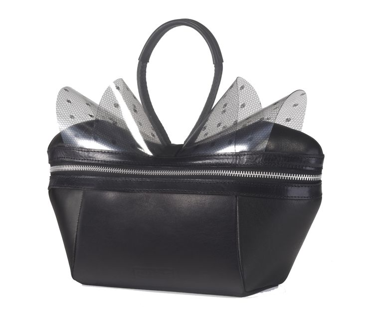 Canary box bag with transparent bow, especially made for TLV fashion week Summer 2013. Order at info@collecte.co.il