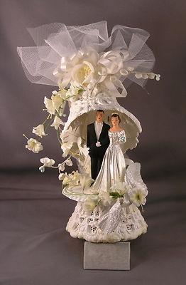 Vintage 1950's Ornate Wedding Cake Topper  (eBay)