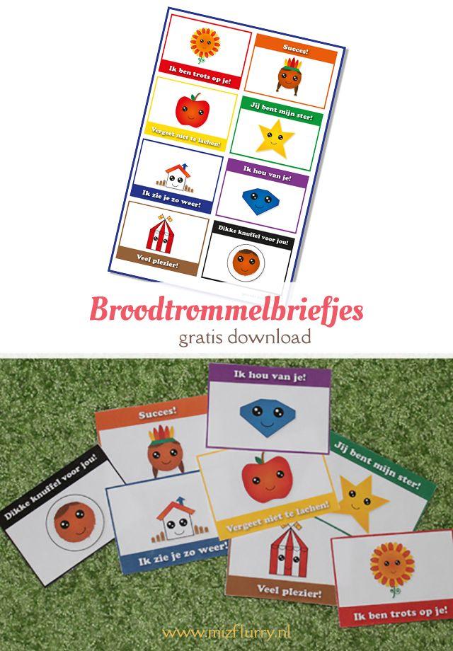 Wil jij je kind laten weten dat je aan hem of haar denkt tijdens de eerste schooldagen? Print dan deze broodtrommelbriefjes voor een leuke verrassing tijdens de lunch! -gratis download pdf