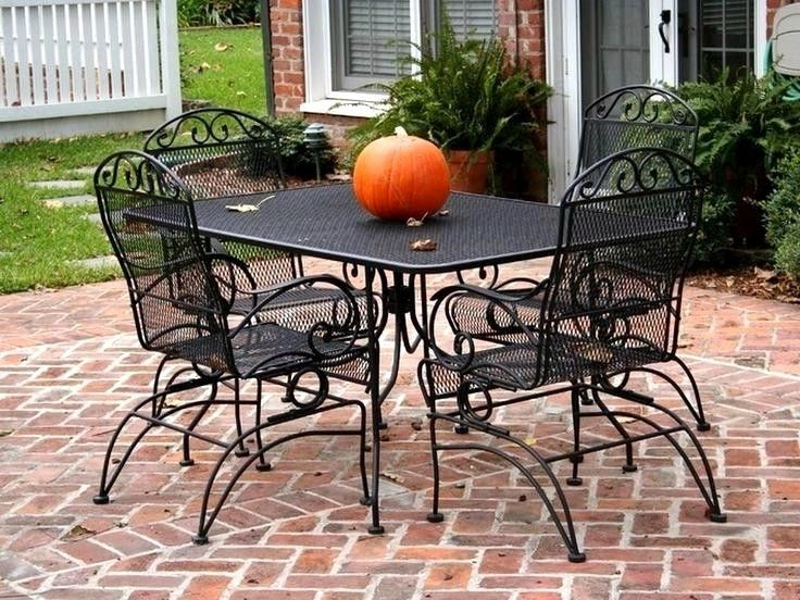 Black Wrought Iron Patio Table And Chairs Cool Rustic Furniture