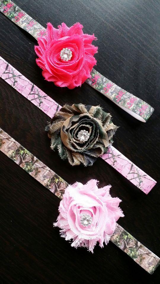 Pink Browning Mossy Oak Real Tree Camo Elastic Baby Girl Headband Set Photo Prop on Etsy, $8.95
