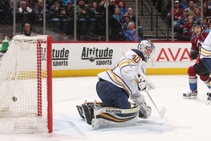 DENVER, CO - FEBRUARY 25: Goaltender Robin Lehner #40 of the Buffalo Sabres watches as a puck by Mikhail Grigorenko #25 of the Colorado Avalanche passes him at the Pepsi Center on February 25, 2017 in Denver, Colorado. (Photo by Michael Martin/NHLI via Getty Images)