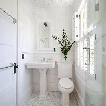 Cottage Bathroom Door with Stacked Towel Bars, Cottage, Bathroom