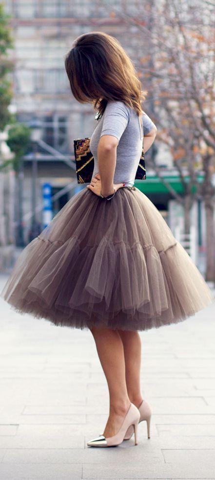 Mocha Very Fluffy Full Layered Petticoat Tulle Skirt Tutu Bridesmaid, Wedding…