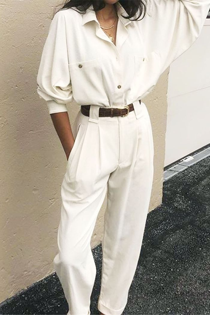 Shirts and trouser outfit ideas: Na Nin Vintages white shirt and white trousers combination