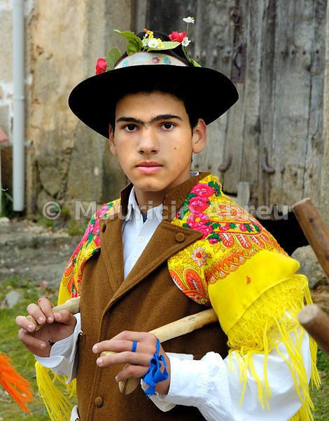 A portrait of a Pauliteiro de Miranda, one of the many popular groups that practice an ancient warrior Iberian dance. Traditional Winter festivities in Constantim. Trás-os-Montes, Portugal