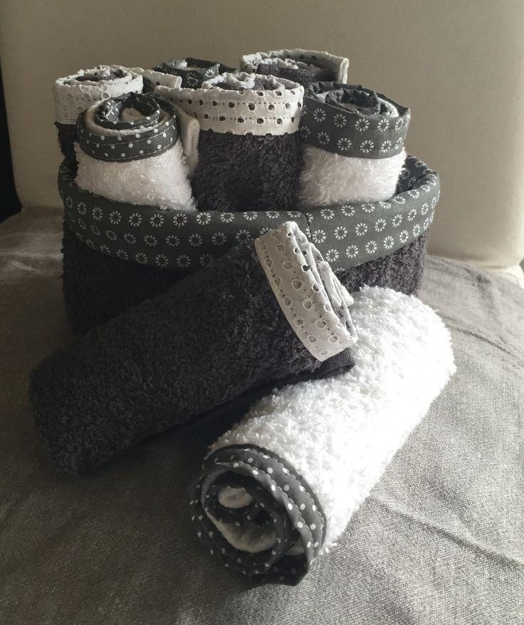Pochon et 8 serviettes invités : Textiles et tapis par realisa