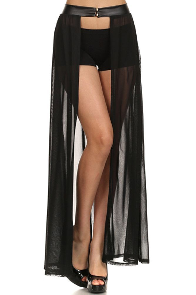 4ef7728f1d High Waist Sheer Open Front Overlay Maxi Skirt with Buttoned Faux Leather  Waistband   EDCLasVegas   Sheer maxi skirt, Rave outfits, Skirts