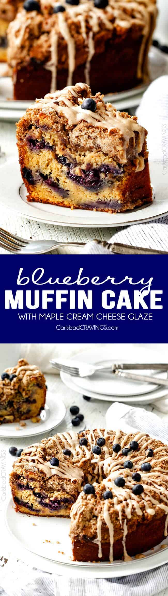 I've died and gone to heaven! This EASY Blueberry Muffin Cake is like a giant blueberry muffin and the Maple Cream Cheese Glaze is amazing! Everyone always asks me to make this for brunch! via @carlsbadcraving