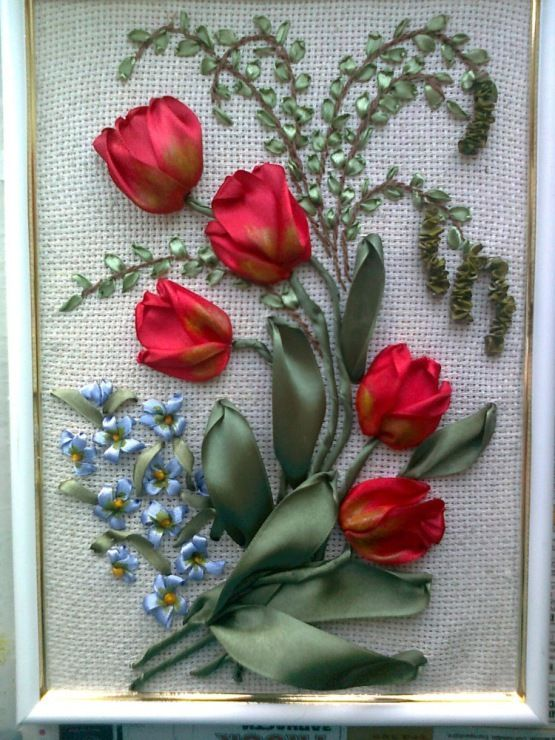 Red tulips #ribbonEmbroidery