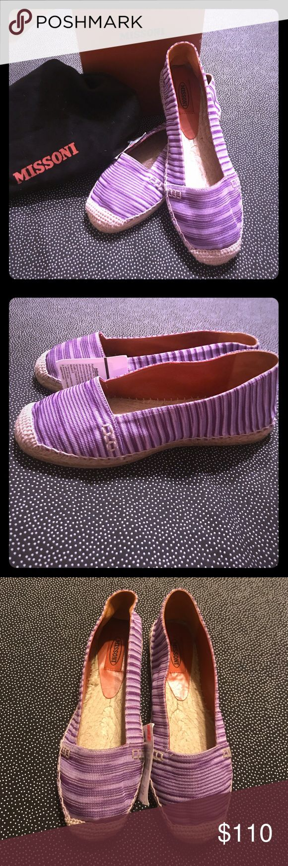 Missoni NWT Purple Stripe Espadrille Flats- Size 8 Missoni Purple Stripe Espadrille Flats - Size 8 US/38 EU - NEW W/ TAGS/DUSTBAG IN ORIGINAL BOX!  Ahh, these shoes are so cute!  Alas, it was one of my impulse buys while in NYC a while back & never wore them so Poshmark they go!  Pick yourself up some great designer shoes at an excellent price! Missoni Shoes Espadrilles